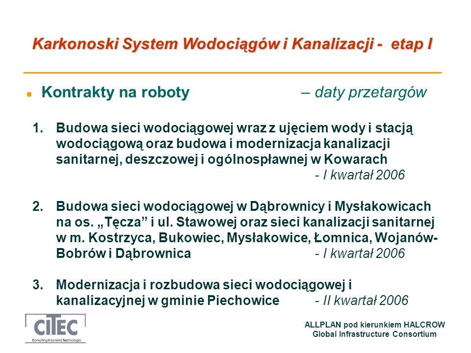 Karkonoski System Wodociągów i Kanalizacji - etap I ALLPLAN pod kierunkiem HALCROW Global Infrastructure Consortium n Kontrakty na roboty – daty przet