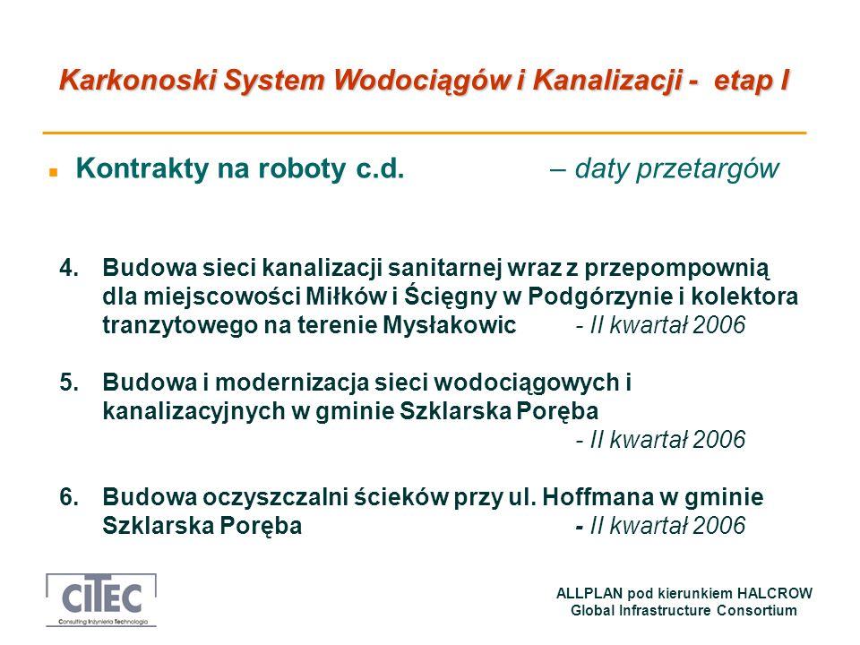 Karkonoski System Wodociągów i Kanalizacji - etap I ALLPLAN pod kierunkiem HALCROW Global Infrastructure Consortium n Kontrakty na roboty c.d. – daty