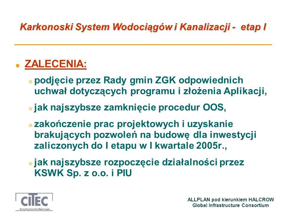 Karkonoski System Wodociągów i Kanalizacji - etap I ALLPLAN pod kierunkiem HALCROW Global Infrastructure Consortium n ZALECENIA: z podjęcie przez Rady