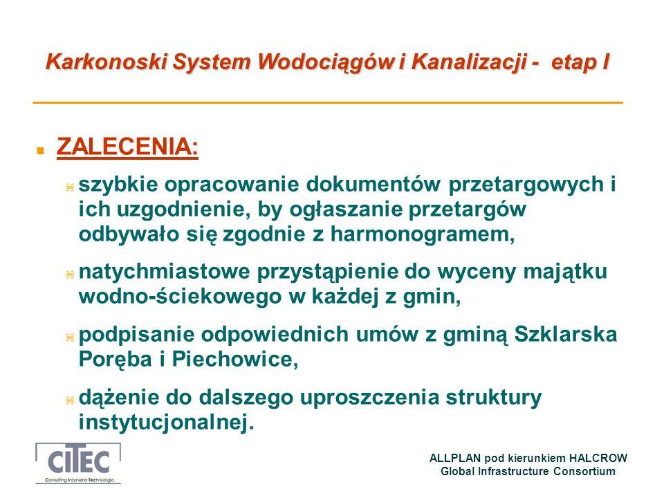Karkonoski System Wodociągów i Kanalizacji - etap I ALLPLAN pod kierunkiem HALCROW Global Infrastructure Consortium n ZALECENIA: z szybkie opracowanie
