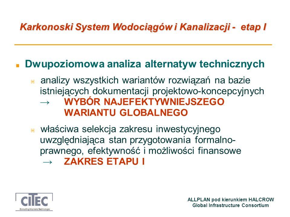Karkonoski System Wodociągów i Kanalizacji - etap I ALLPLAN pod kierunkiem HALCROW Global Infrastructure Consortium n Kontrakty na roboty – daty przetargów 1.Budowa sieci wodociągowej wraz z ujęciem wody i stacją wodociągową oraz budowa i modernizacja kanalizacji sanitarnej, deszczowej i ogólnospławnej w Kowarach - I kwartał 2006 2.Budowa sieci wodociągowej w Dąbrownicy i Mysłakowicach na os.