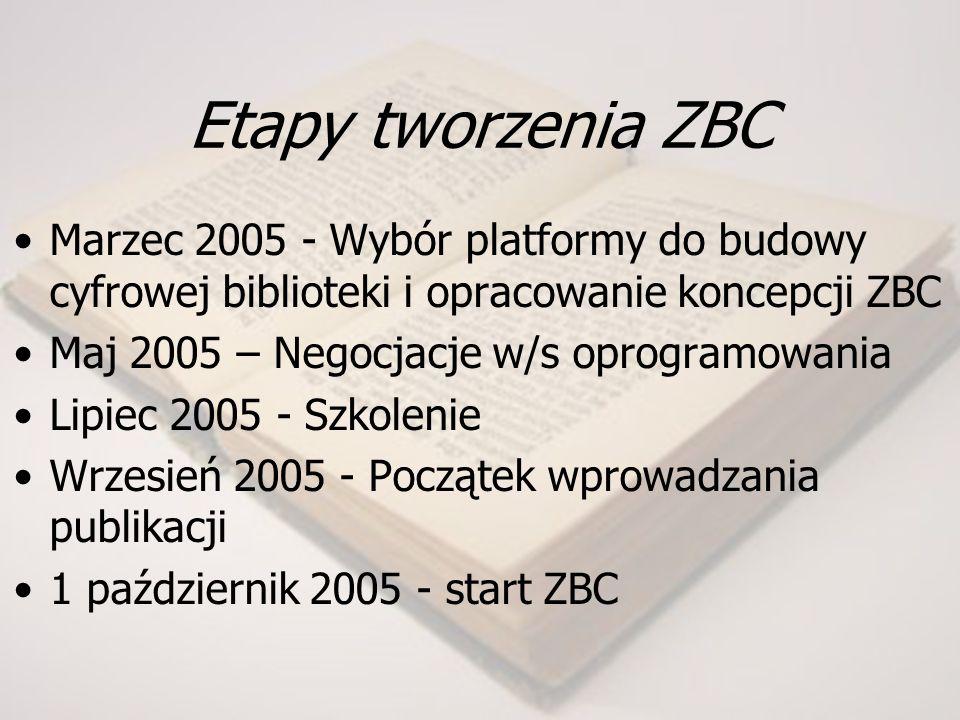 Etapy tworzenia ZBC Marzec 2005 - Wybór platformy do budowy cyfrowej biblioteki i opracowanie koncepcji ZBC Maj 2005 – Negocjacje w/s oprogramowania Lipiec 2005 - Szkolenie Wrzesień 2005 - Początek wprowadzania publikacji 1 październik 2005 - start ZBC