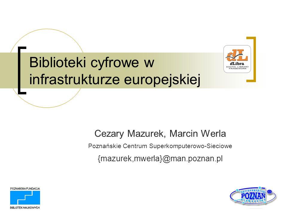 listopad 2005 Agenda Biblioteki cyfrowe w Polsce Biblioteki cyfrowe w Europie The European Library DELOS eContentPlus Komunikat i2010: Digital Libraries