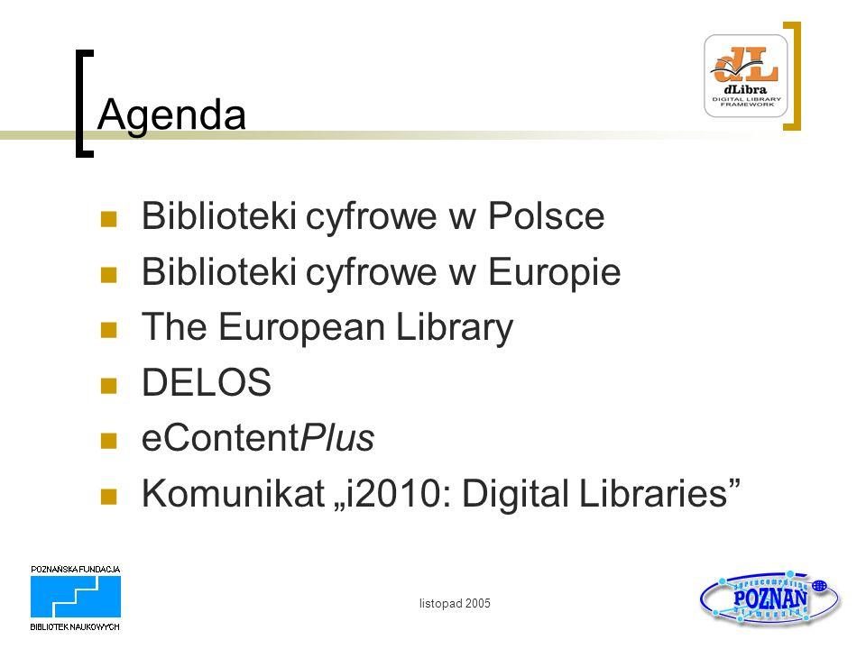 listopad 2005 DELOS Sieć doskonałości w zakresie bibliotek cyfrowych Powołana w 5 PR, kontynuowana w 6 PR http://delos.info/ Sposób działania to: Koordynowanie badań zrzeszonych instytucji w zakresie bibliotek cyfrowych Popularyzacja wyników badań poprzez organizowanie warsztatów i konferencji (ECDL)