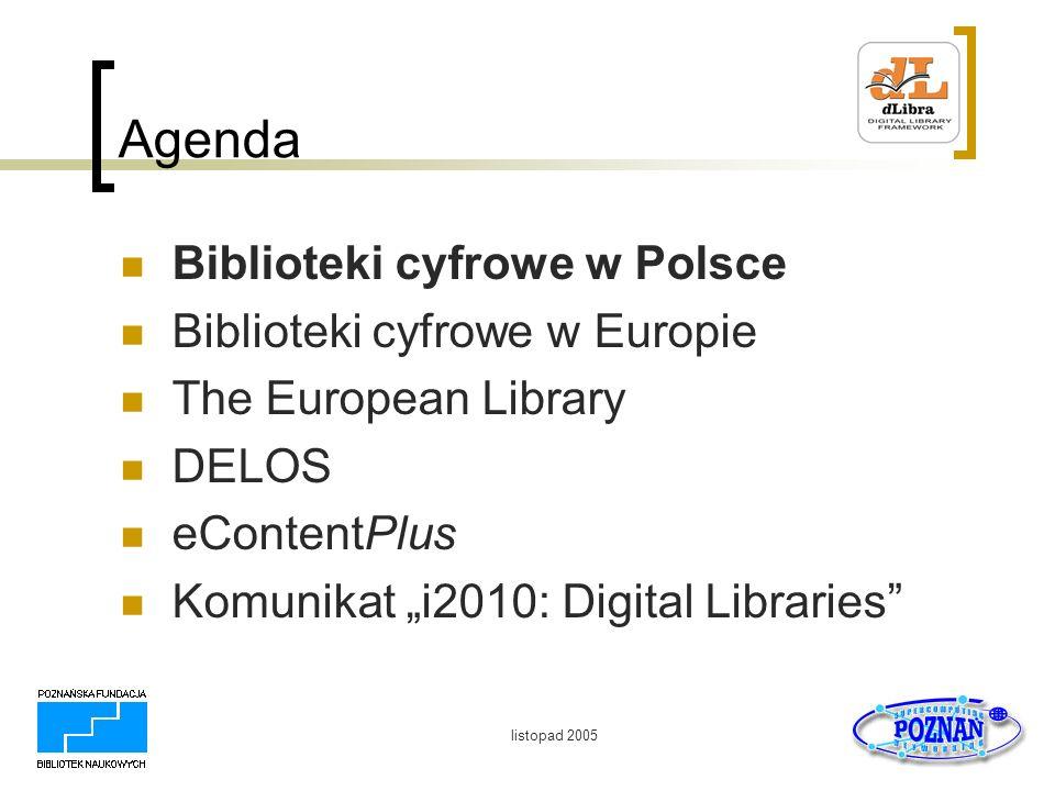 listopad 2005 Biblioteki cyfrowe w Europie Die Deutsche Bibliothek (http://www.ddb.de/) Pojedyncze kolekcje (np.