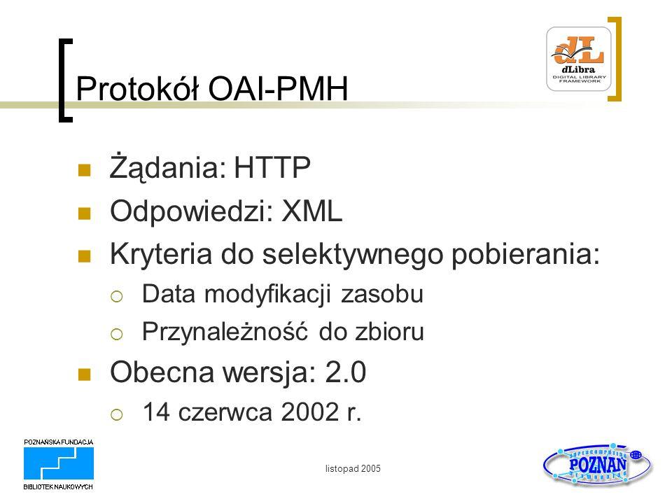 listopad 2005 Protokół OAI-PMH Żądania: HTTP Odpowiedzi: XML Kryteria do selektywnego pobierania: Data modyfikacji zasobu Przynależność do zbioru Obec