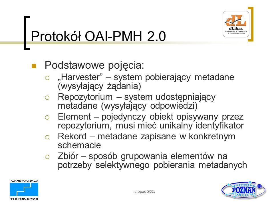 listopad 2005 Protokół OAI-PMH 2.0 Podstawowe pojęcia: Harvester – system pobierający metadane (wysyłający żądania) Repozytorium – system udostępniają