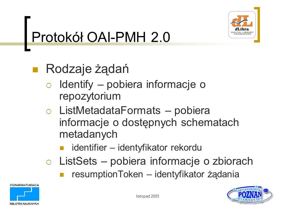 listopad 2005 Protokół OAI-PMH 2.0 Rodzaje żądań Identify – pobiera informacje o repozytorium ListMetadataFormats – pobiera informacje o dostępnych sc