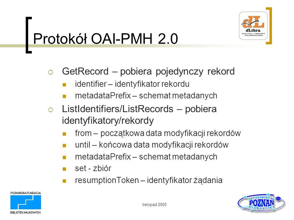 listopad 2005 Protokół OAI-PMH 2.0 GetRecord – pobiera pojedynczy rekord identifier – identyfikator rekordu metadataPrefix – schemat metadanych ListId