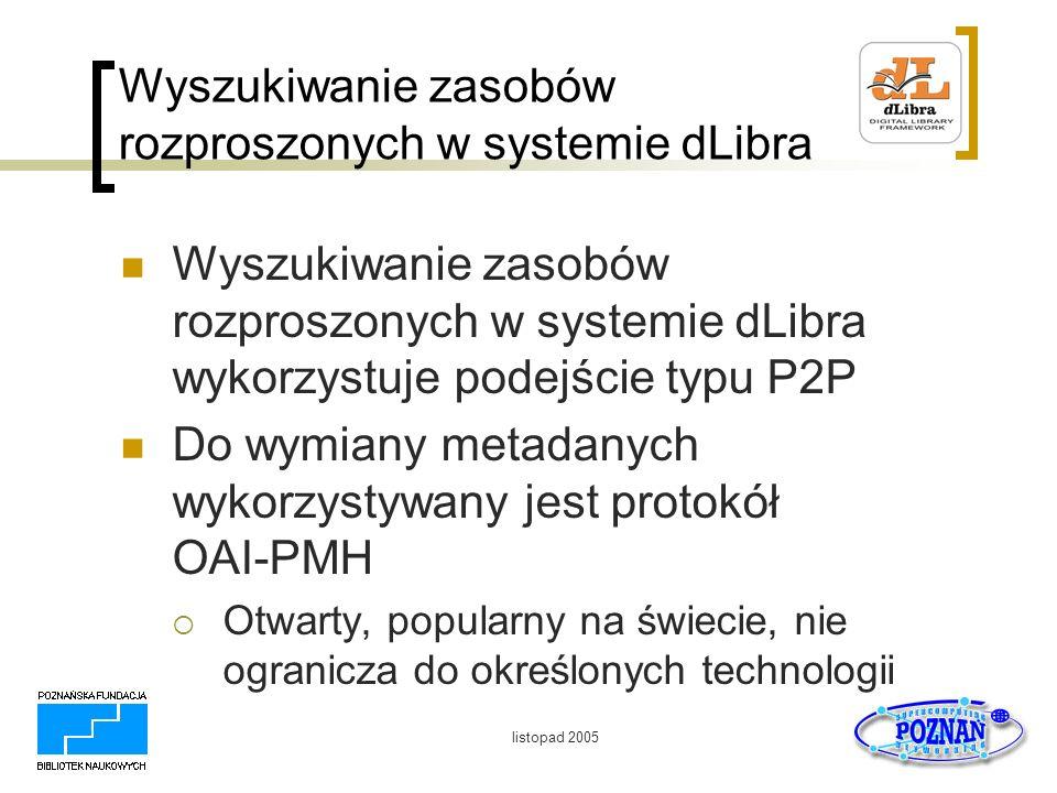 listopad 2005 Wyszukiwanie zasobów rozproszonych w systemie dLibra Wyszukiwanie zasobów rozproszonych w systemie dLibra wykorzystuje podejście typu P2