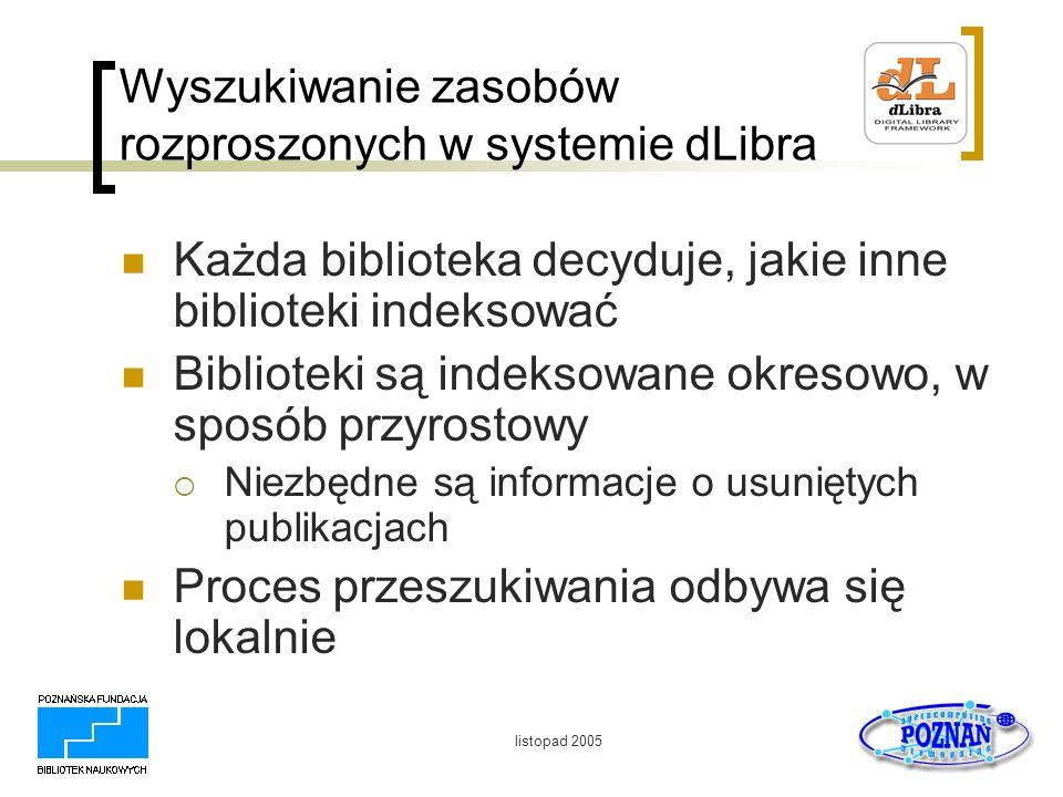 listopad 2005 Wyszukiwanie zasobów rozproszonych w systemie dLibra Każda biblioteka decyduje, jakie inne biblioteki indeksować Biblioteki są indeksowa