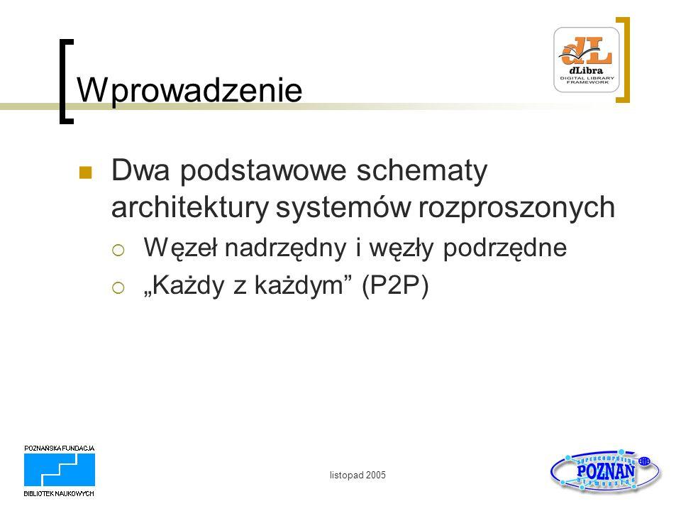 listopad 2005 Wprowadzenie Dwa podstawowe schematy architektury systemów rozproszonych Węzeł nadrzędny i węzły podrzędne Każdy z każdym (P2P)