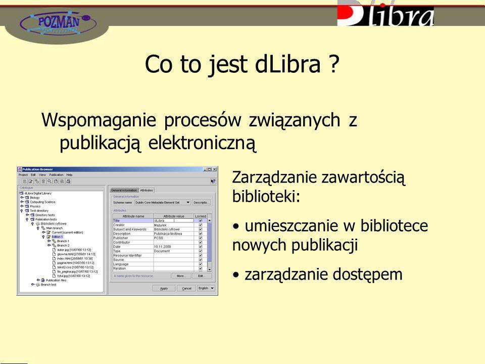 Co to jest dLibra ? Zarządzanie zawartością biblioteki: umieszczanie w bibliotece nowych publikacji zarządzanie dostępem Wspomaganie procesów związany