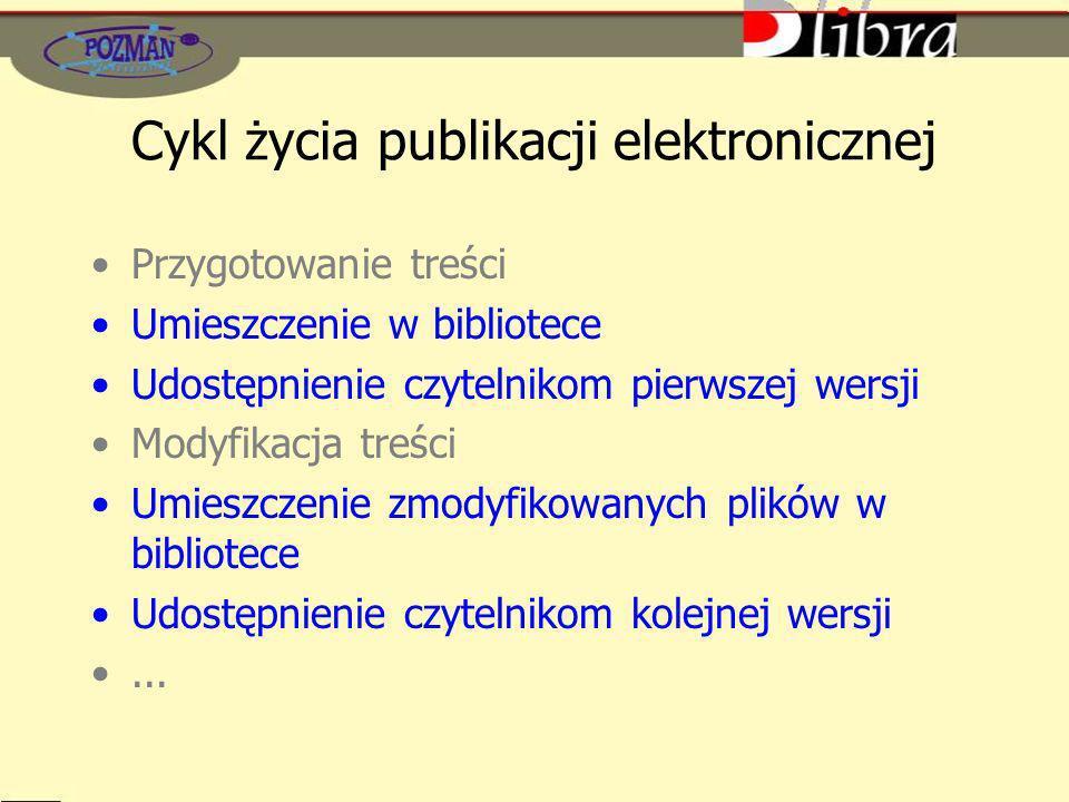 Cykl życia publikacji elektronicznej Przygotowanie treści Umieszczenie w bibliotece Udostępnienie czytelnikom pierwszej wersji Modyfikacja treści Umieszczenie zmodyfikowanych plików w bibliotece Udostępnienie czytelnikom kolejnej wersji...