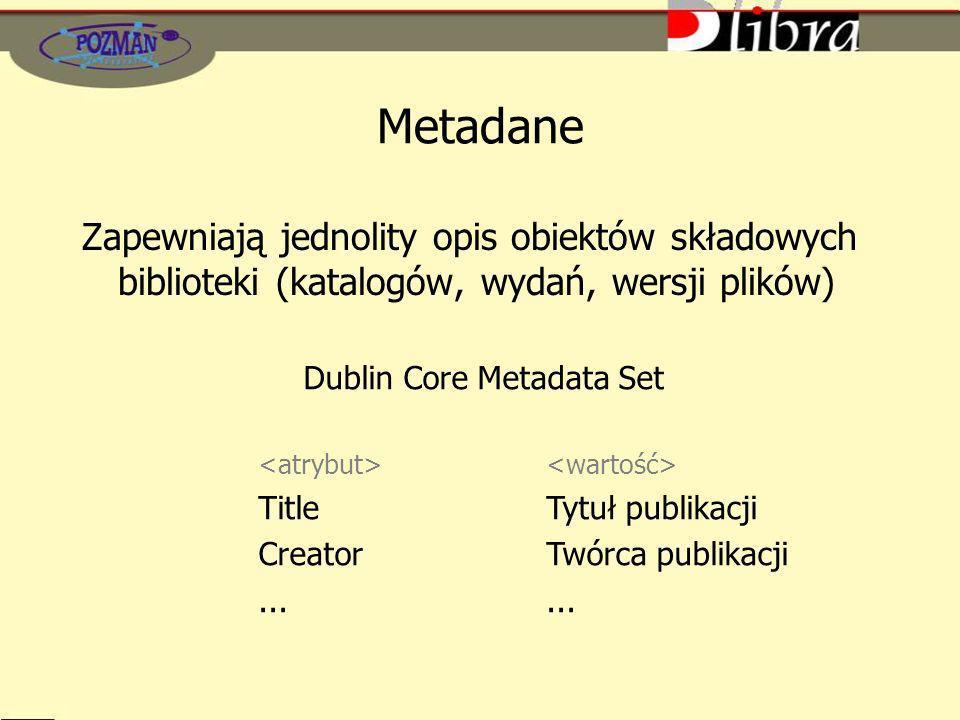 Metadane Zapewniają jednolity opis obiektów składowych biblioteki (katalogów, wydań, wersji plików) Dublin Core Metadata Set TitleTytuł publikacji CreatorTwórca publikacji...