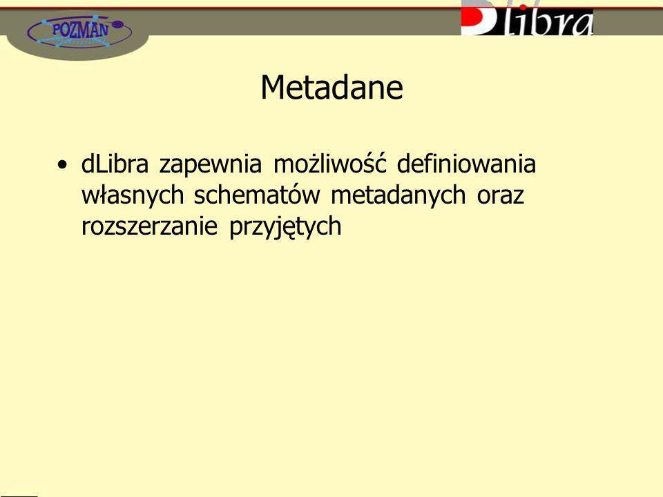 Metadane dLibra zapewnia możliwość definiowania własnych schematów metadanych oraz rozszerzanie przyjętych