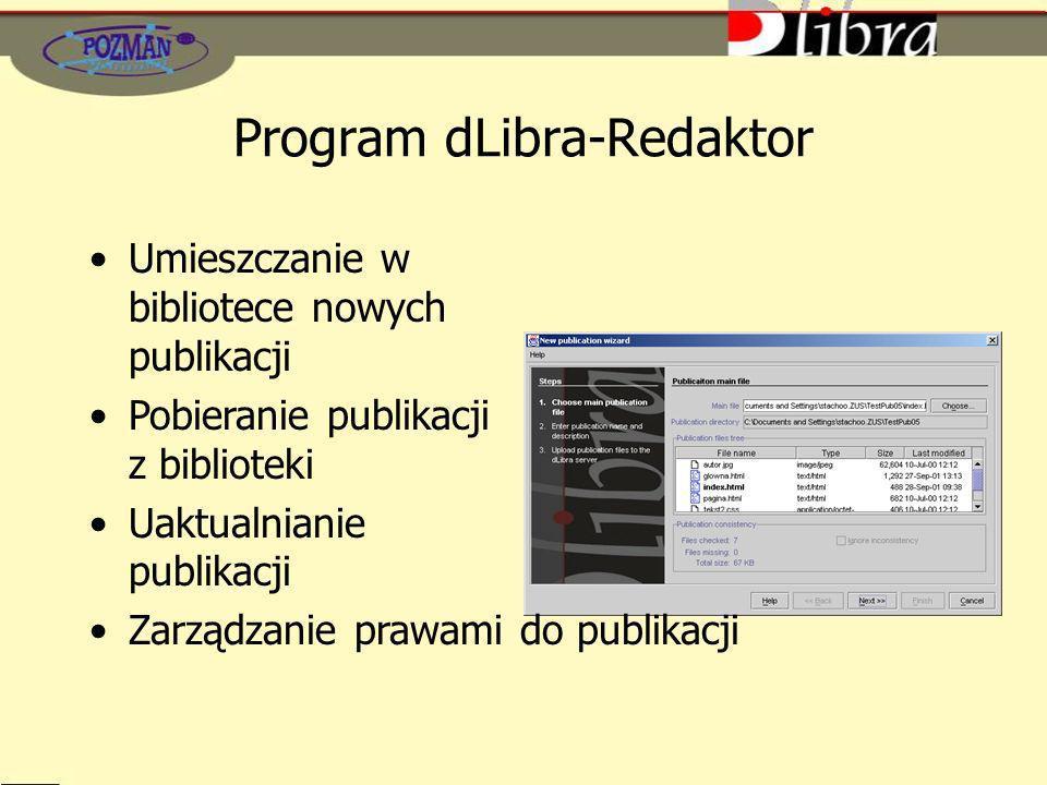 Program dLibra-Redaktor Umieszczanie w bibliotece nowych publikacji Pobieranie publikacji z biblioteki Uaktualnianie publikacji Zarządzanie prawami do