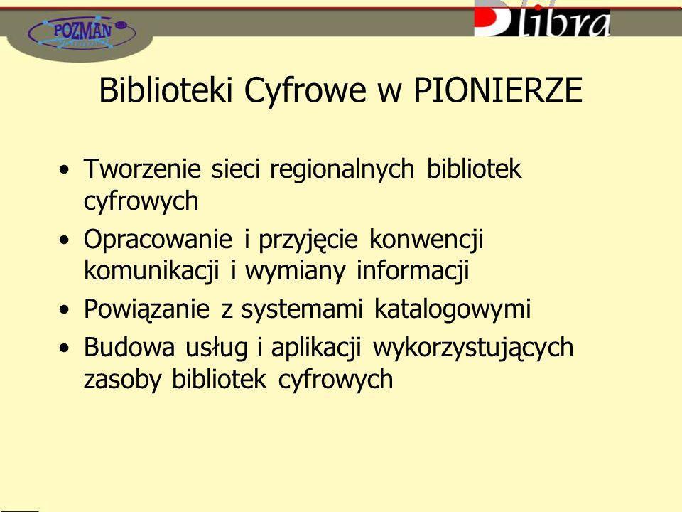 Biblioteki Cyfrowe w PIONIERZE Tworzenie sieci regionalnych bibliotek cyfrowych Opracowanie i przyjęcie konwencji komunikacji i wymiany informacji Pow