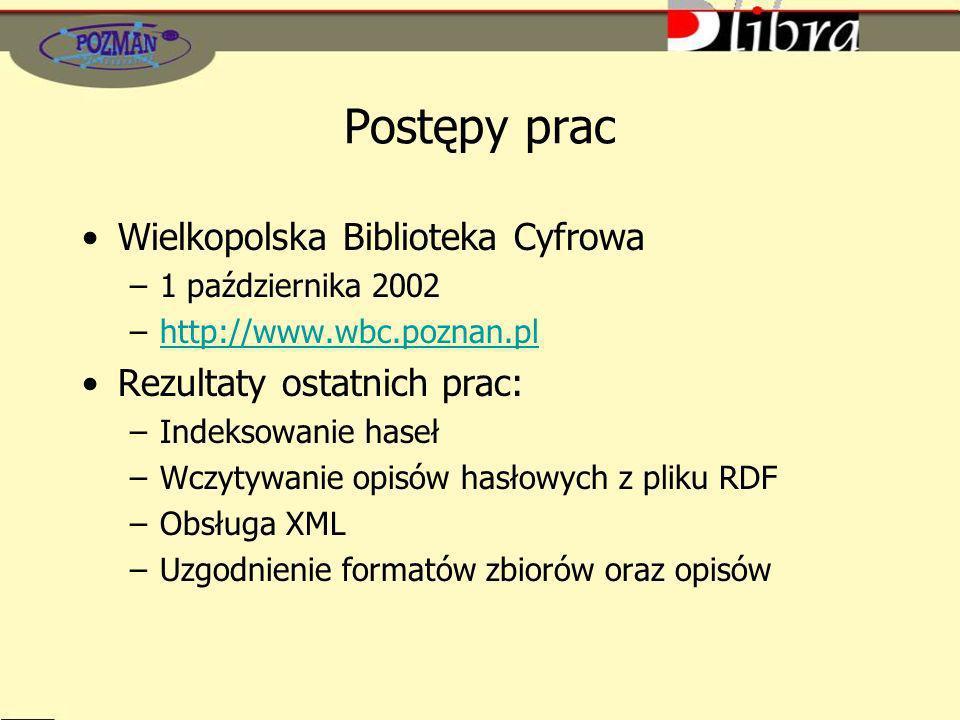 Postępy prac Wielkopolska Biblioteka Cyfrowa –1 października 2002 –http://www.wbc.poznan.plhttp://www.wbc.poznan.pl Rezultaty ostatnich prac: –Indeksowanie haseł –Wczytywanie opisów hasłowych z pliku RDF –Obsługa XML –Uzgodnienie formatów zbiorów oraz opisów