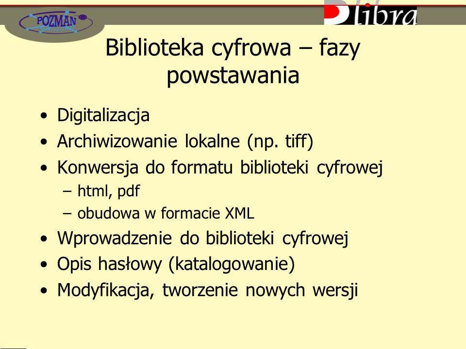Biblioteka cyfrowa – fazy powstawania Digitalizacja Archiwizowanie lokalne (np. tiff) Konwersja do formatu biblioteki cyfrowej –html, pdf –obudowa w f