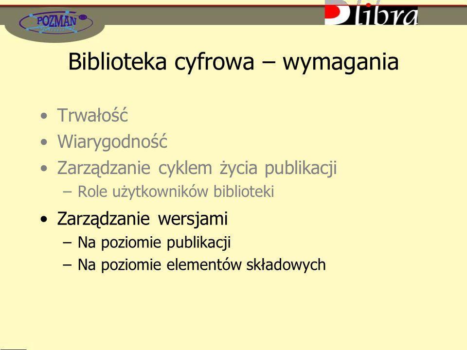 Biblioteka cyfrowa – wymagania Trwałość Wiarygodność Zarządzanie cyklem życia publikacji –Role użytkowników biblioteki Zarządzanie wersjami –Na poziom