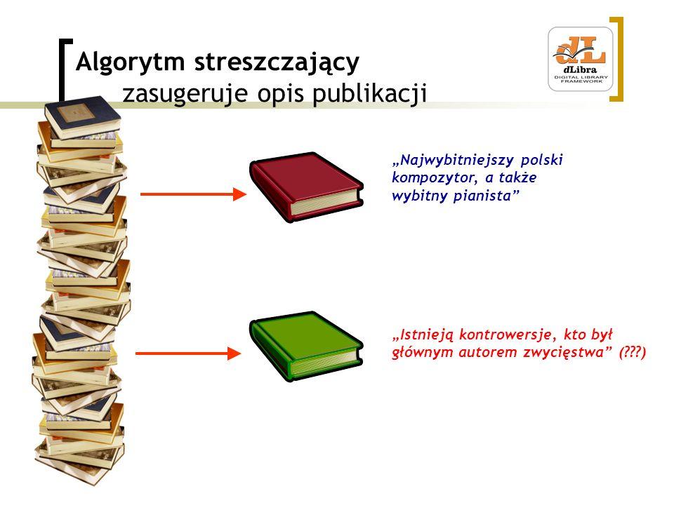 Algorytm streszczający zasugeruje opis publikacji Najwybitniejszy polski kompozytor, a także wybitny pianista Istnieją kontrowersje, kto był głównym autorem zwycięstwa (???)