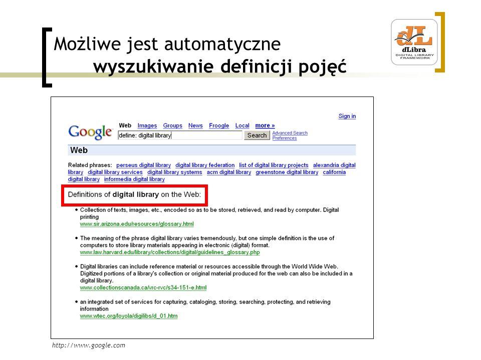 Możliwe jest automatyczne wyszukiwanie definicji pojęć http://www.google.com
