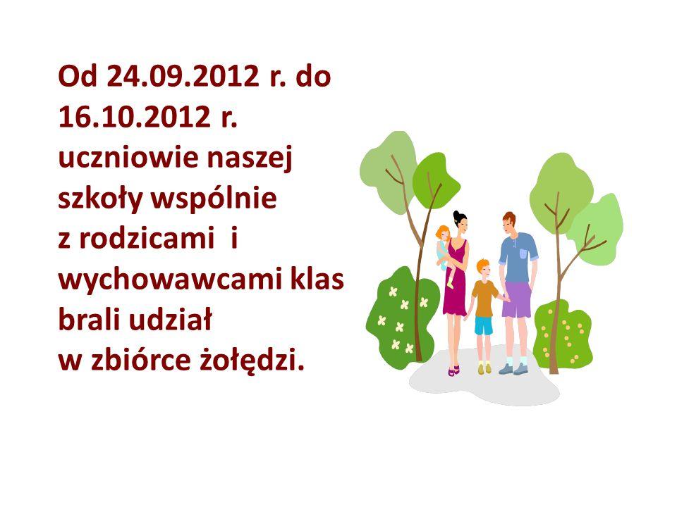 Od 24.09.2012 r. do 16.10.2012 r. uczniowie naszej szkoły wspólnie z rodzicami i wychowawcami klas brali udział w zbiórce żołędzi.