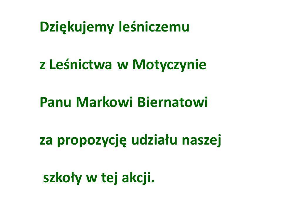 Dziękujemy leśniczemu z Leśnictwa w Motyczynie Panu Markowi Biernatowi za propozycję udziału naszej szkoły w tej akcji.