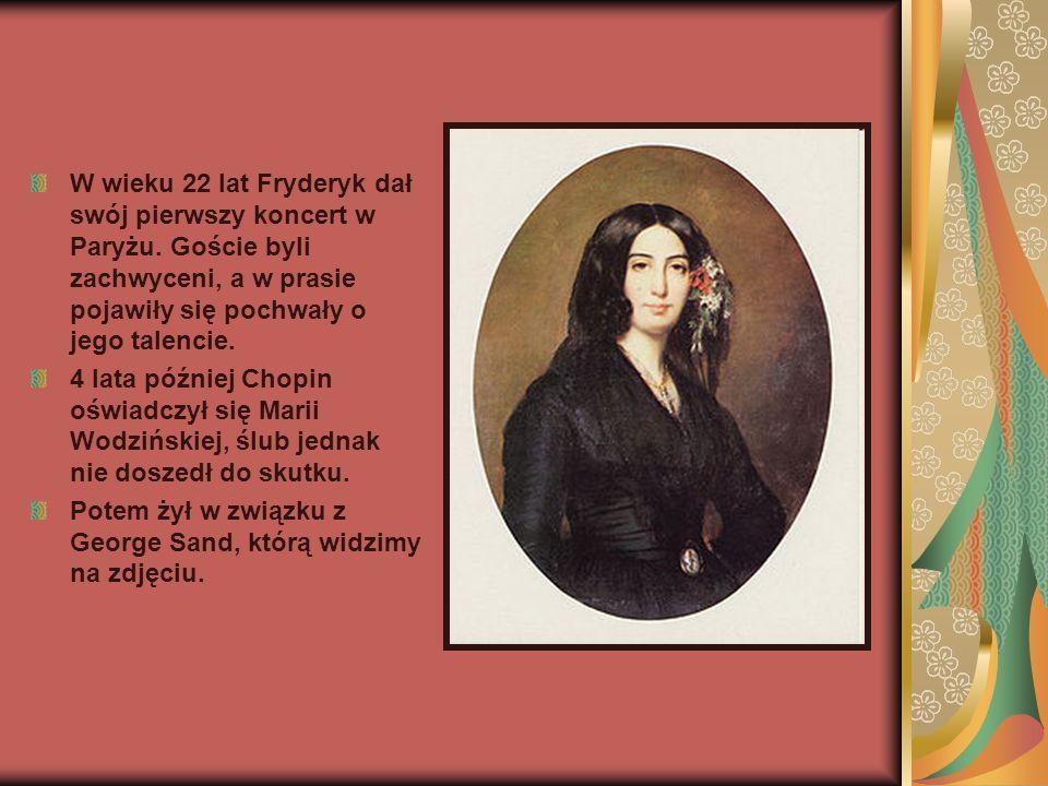W wieku 22 lat Fryderyk dał swój pierwszy koncert w Paryżu. Goście byli zachwyceni, a w prasie pojawiły się pochwały o jego talencie. 4 lata później C