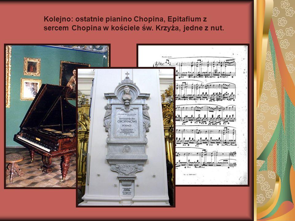 Kolejno: ostatnie pianino Chopina, Epitafium z sercem Chopina w kościele św. Krzyża, jedne z nut.