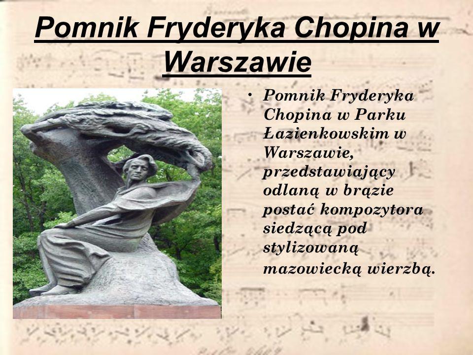 Pomnik Fryderyka Chopina w Warszawie Pomnik Fryderyka Chopina w Parku Łazienkowskim w Warszawie, przedstawiający odlaną w brązie postać kompozytora si