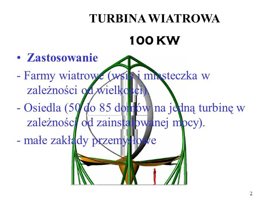 2 TURBINA WIATROWA 100 KW Zastosowanie - Farmy wiatrowe (wsie i miasteczka w zależności od wielkości). - Osiedla (50 do 85 domów na jedną turbinę w za
