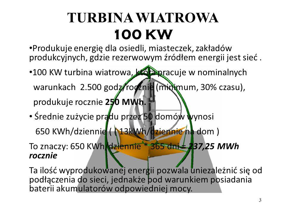3 TURBINA WIATROWA 100 KW Produkuje energię dla osiedli, miasteczek, zakładów produkcyjnych, gdzie rezerwowym źródłem energii jest sieć. 100 KW turbin