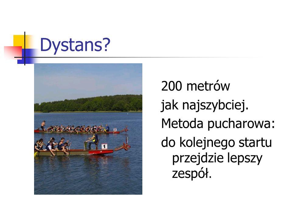 Dystans 200 metrów jak najszybciej. Metoda pucharowa: do kolejnego startu przejdzie lepszy zespół.