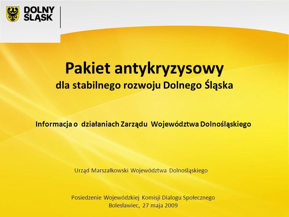 Posiedzenie Wojewódzkiej Komisji Dialogu Społecznego Bolesławiec, 27 maja 2009 Pakiet antykryzysowy dla stabilnego rozwoju Dolnego Śląska Urząd Marszałkowski Województwa Dolnośląskiego Informacja o działaniach Zarządu Województwa Dolnośląskiego