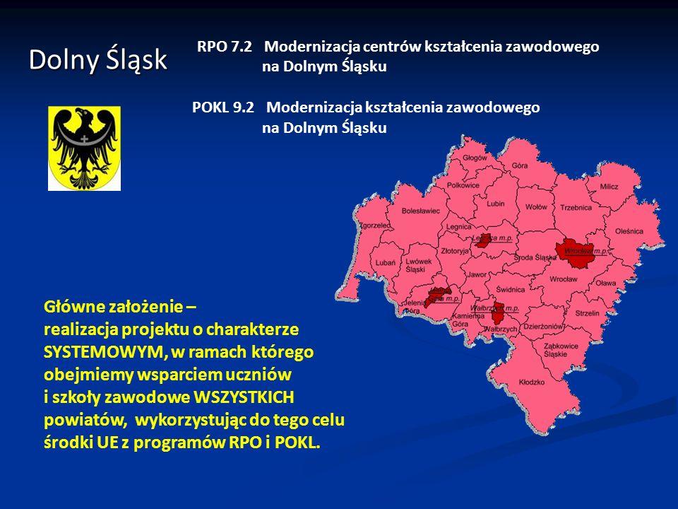 Dolny Śląsk RPO 7.2 Modernizacja centrów kształcenia zawodowego na Dolnym Śląsku POKL 9.2 Modernizacja kształcenia zawodowego na Dolnym Śląsku Główne