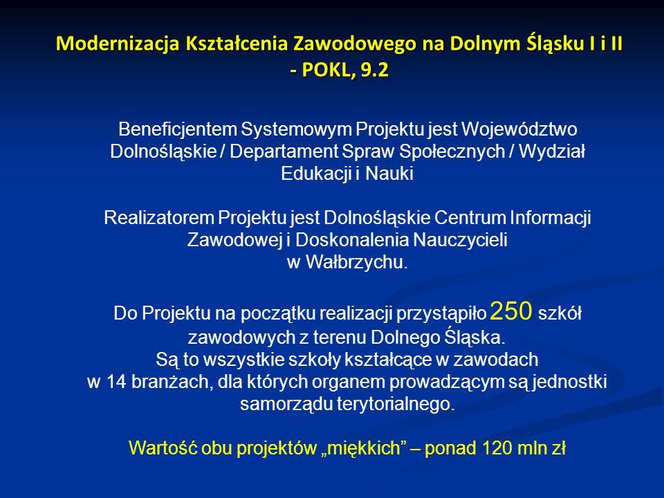 Modernizacja Kształcenia Zawodowego na Dolnym Śląsku I i II - POKL, 9.2 Beneficjentem Systemowym Projektu jest Województwo Dolnośląskie / Departament
