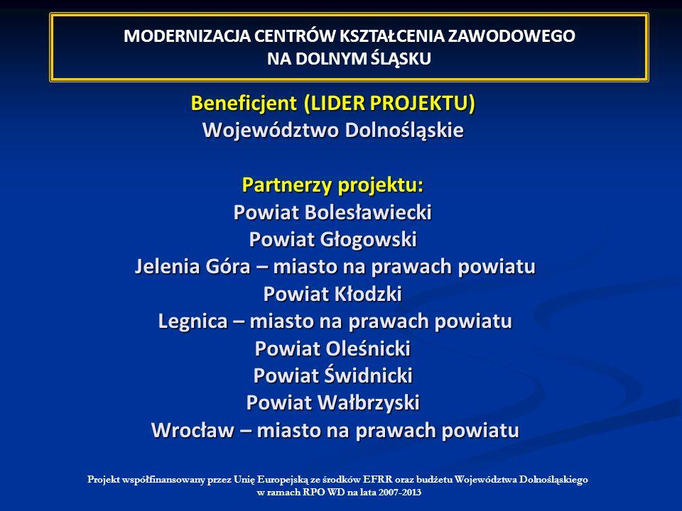 Beneficjent (LIDER PROJEKTU) Województwo Dolnośląskie Partnerzy projektu: Powiat Bolesławiecki Powiat Głogowski Jelenia Góra – miasto na prawach powia