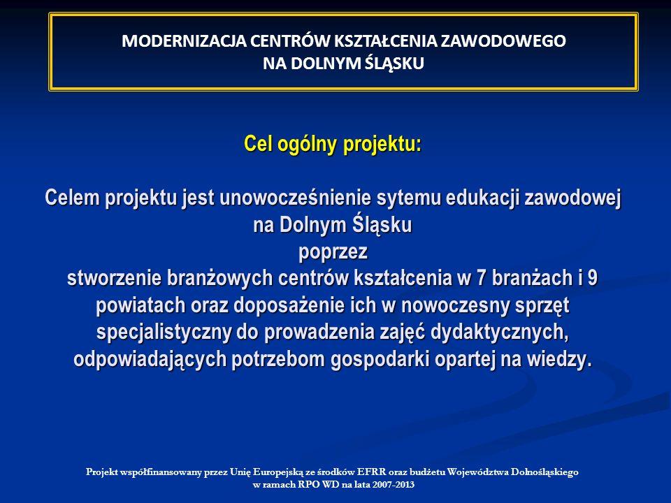 Projekt współfinansowany przez Unię Europejską ze środków EFRR oraz budżetu Województwa Dolnośląskiego w ramach RPO WD na lata 2007-2013 Cel ogólny pr