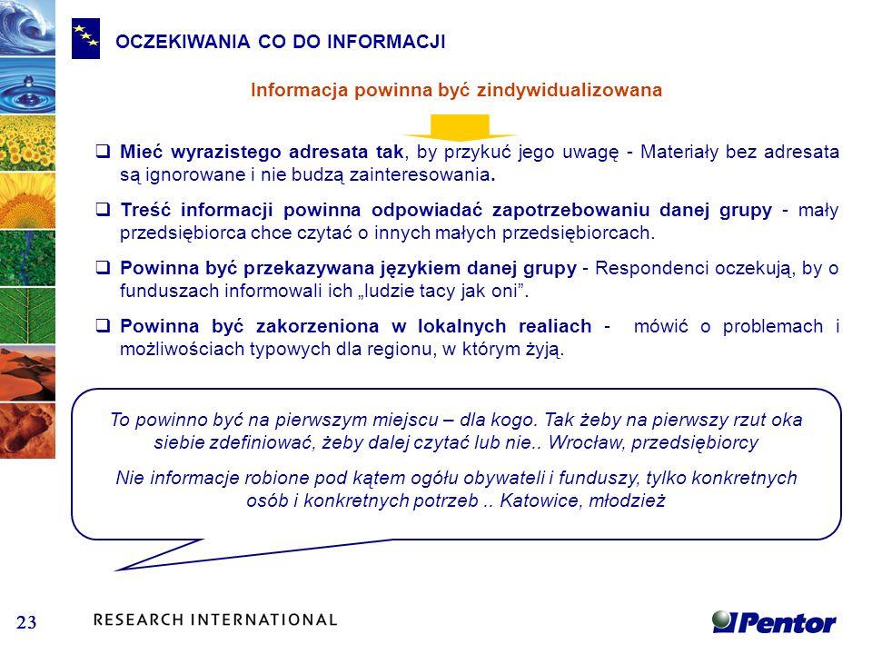 OCZEKIWANIA CO DO INFORMACJI Informacja powinna być zindywidualizowana Mieć wyrazistego adresata tak, by przykuć jego uwagę - Materiały bez adresata s