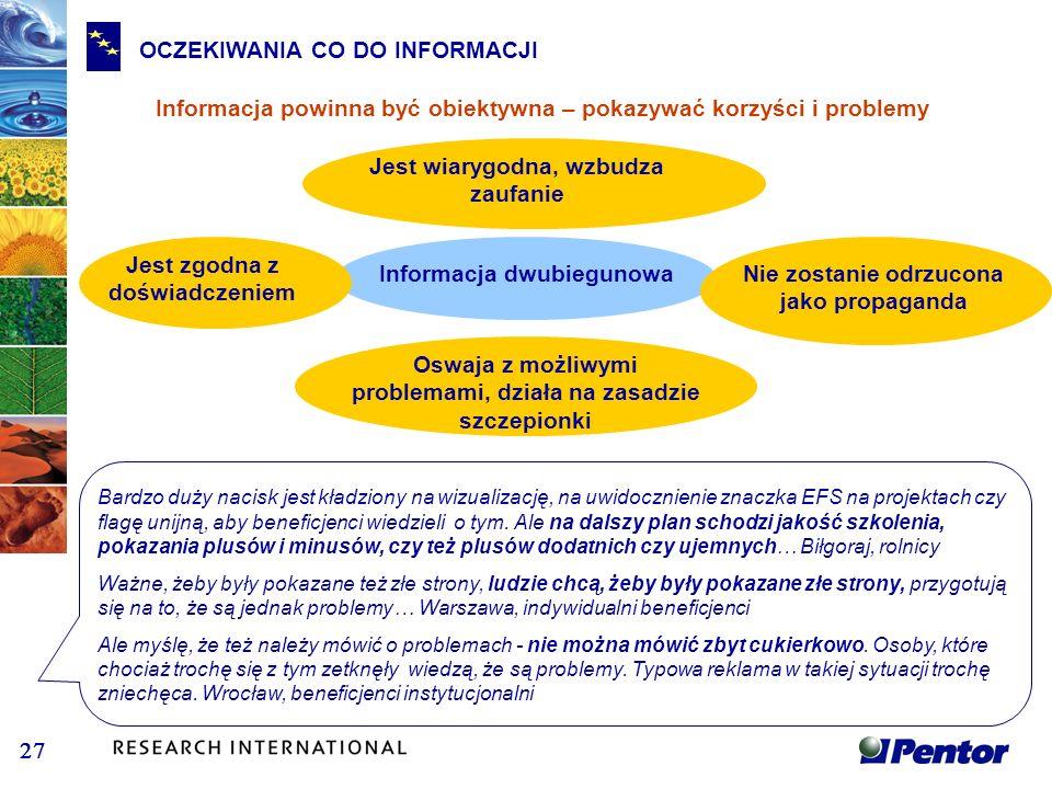 OCZEKIWANIA CO DO INFORMACJI Informacja powinna być obiektywna – pokazywać korzyści i problemy Informacja dwubiegunowa Oswaja z możliwymi problemami,