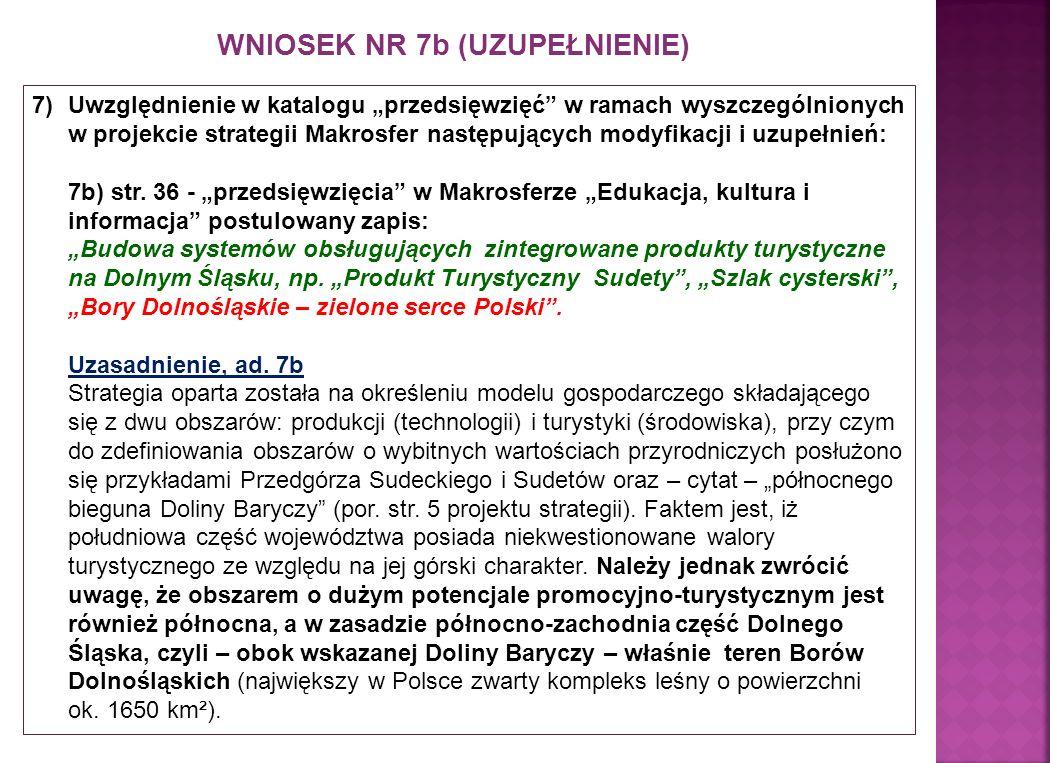 WNIOSEK NR 7b (UZUPEŁNIENIE) 7)Uwzględnienie w katalogu przedsięwzięć w ramach wyszczególnionych w projekcie strategii Makrosfer następujących modyfikacji i uzupełnień: 7b) str.