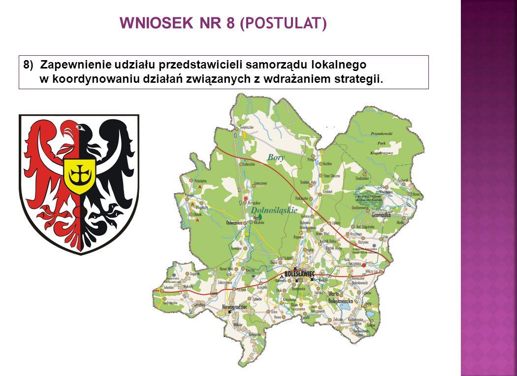 WNIOSEK NR 8 (POSTULAT) 8) Zapewnienie udziału przedstawicieli samorządu lokalnego w koordynowaniu działań związanych z wdrażaniem strategii.