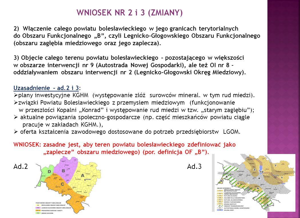 WNIOSEK NR 2 i 3 (ZMIANY) 2) Włączenie całego powiatu bolesławieckiego w jego granicach terytorialnych do Obszaru Funkcjonalnego B, czyli Legnicko-Głogowskiego Obszaru Funkcjonalnego (obszaru zagłębia miedziowego oraz jego zaplecza).