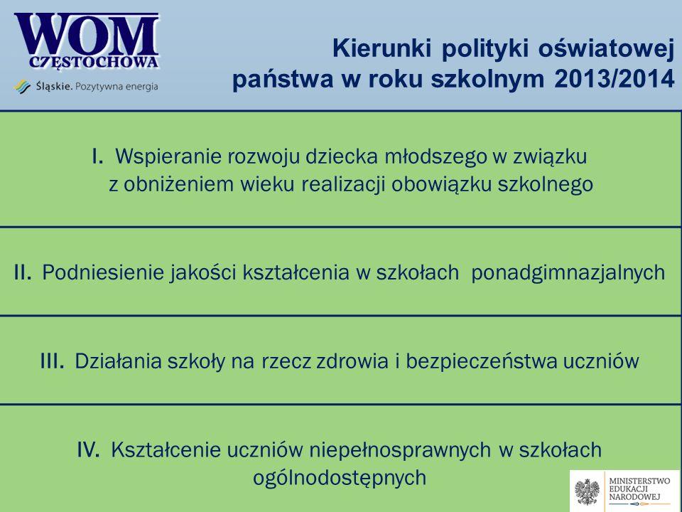 Kierunki polityki oświatowej państwa w roku szkolnym 2013/2014 I. Wspieranie rozwoju dziecka młodszego w związku z obniżeniem wieku realizacji obowiąz