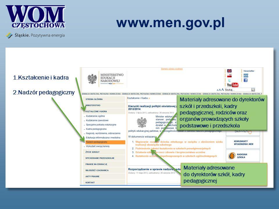 www.men.gov.pl 1.Kształcenie i kadra 2.Nadzór pedagogiczny Materiały adresowane do dyrektorów szkół i przedszkoli, kadry pedagogicznej, rodziców oraz