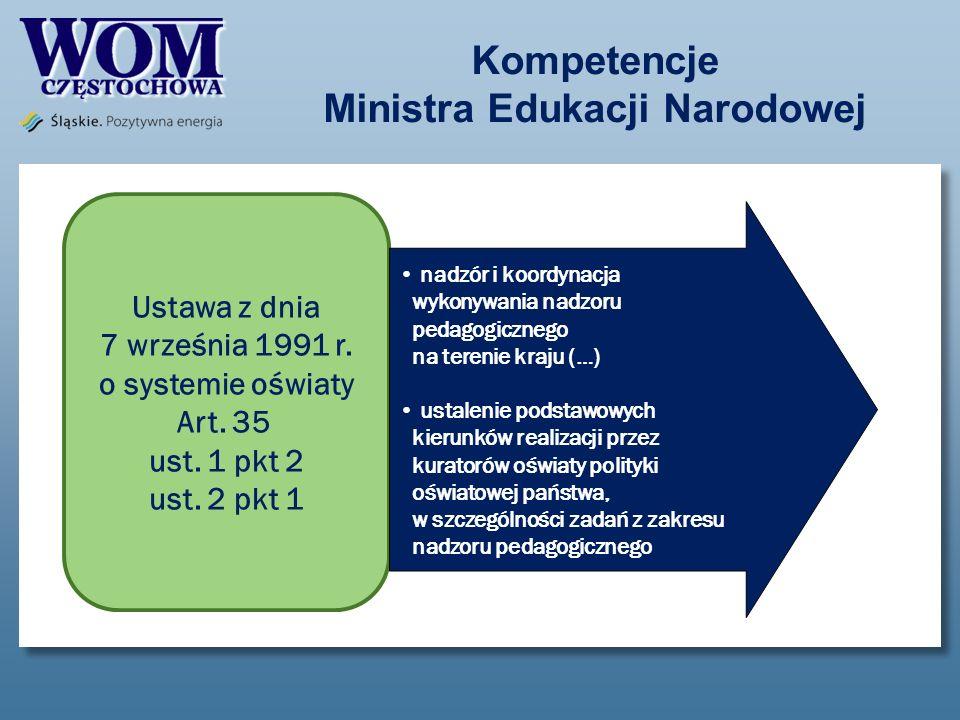Kompetencje Ministra Edukacji Narodowej Ustawa z dnia 7 września 1991 r. o systemie oświaty Art. 35 ust. 1 pkt 2 ust. 2 pkt 1 nadzór i koordynacja wyk