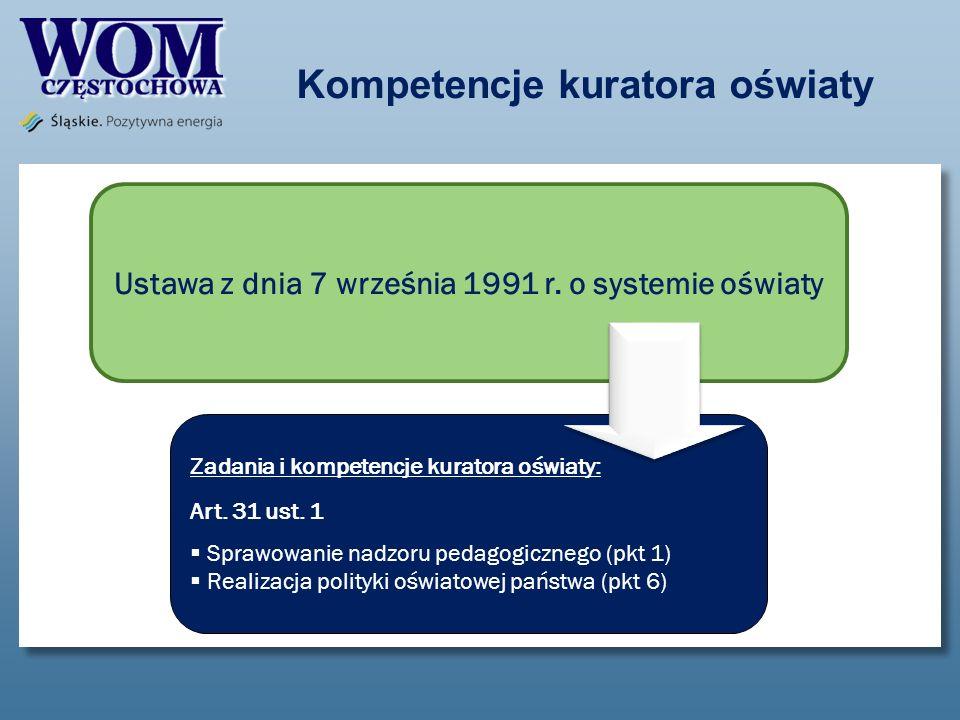 Kompetencje kuratora oświaty Ustawa z dnia 7 września 1991 r. o systemie oświaty Zadania i kompetencje kuratora oświaty: Art. 31 ust. 1 Sprawowanie na