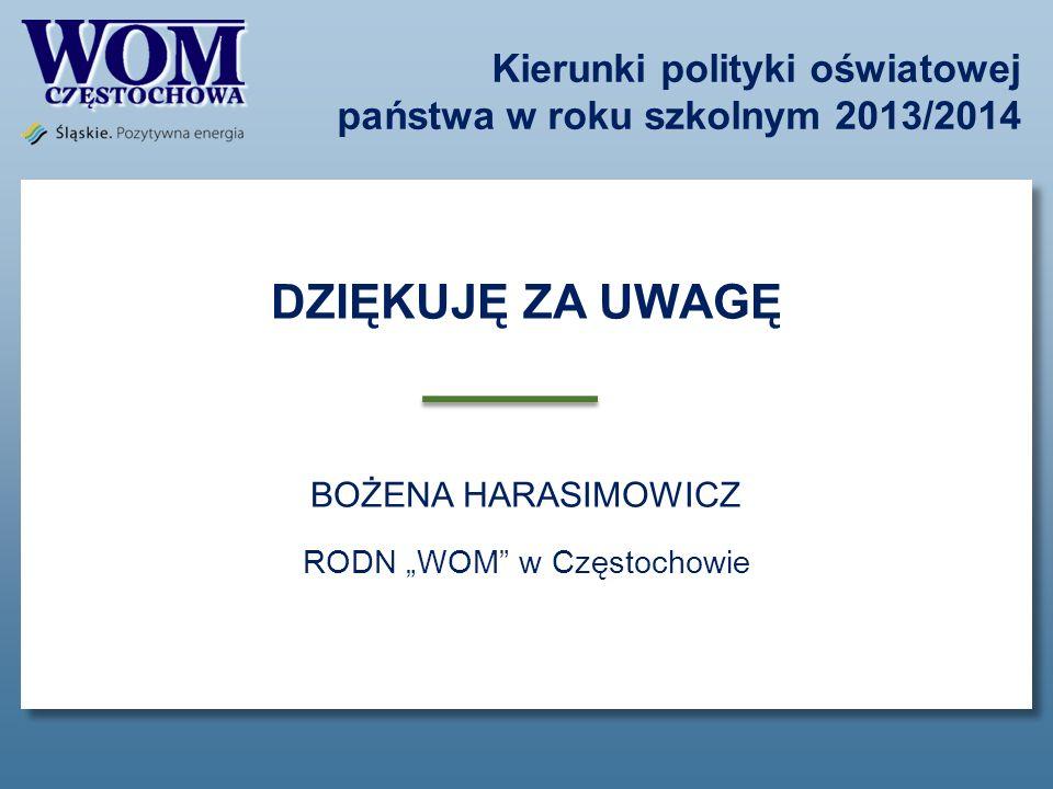 Kierunki polityki oświatowej państwa w roku szkolnym 2013/2014 DZIĘKUJĘ ZA UWAGĘ BOŻENA HARASIMOWICZ RODN WOM w Częstochowie